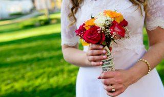 Money Wrapped Wedding Bouquet - Horizontal
