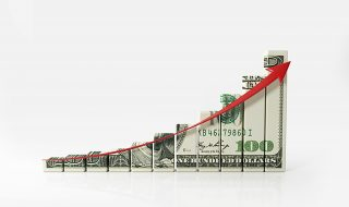 Money Chart And A Red Arrow On White Background