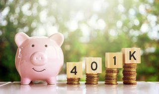 Piggy Bank and Wooden Blocks with Number 401k